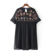 2018 women vintage flower embroidery short sleeve black mini dress elegant vestidos o neck party clothing dresses DS159