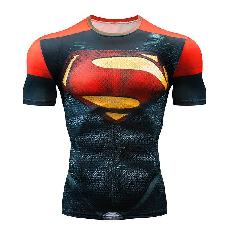 Superman Camiseta de Running de compresión de los hombres, camisa de Batman Tops Flash gimnasio Crossfit Camiseta culturismo Camiseta lycra
