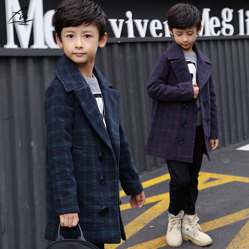 FYH Kids Clothes Boys Winter Plaid Woolen Coat Warm Cotton Padded Children Outerwear Jackets Turn down Collar Boys Thicken Coat slimming turn down collar patch pocket single breasted long sleeves woolen blend plaid coat for men