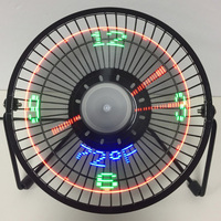 USB Fan 4 Inch gadget Desktop Temperature LED Display Clock Fan Mini USB Table Fan 3 in 1