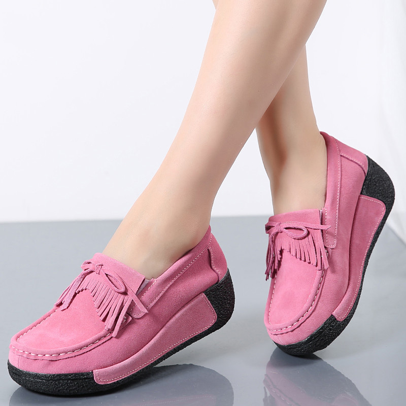 Spring Women Flats Shoes Platform Sneakers Shoes   Leather     Suede   Fringe Loafers Slip On Flats Heel Creepers Ladies Shoes Moccasins