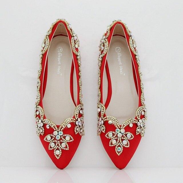 Fashion pearls flower flats for women pointed toe flats heel women wedding  shoes red color diamond dress flats flats women 18442d9d7636