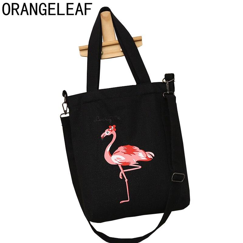 Fashion Flamingo Printed Shoulder Bag Female Canvas Beach Handbag Design Casual Tote Summer Lady Daily Use Women Shopping Bag shoulder bag