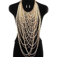 Mehrschichtige quaste halskette super lange anhänger halskette frauen perle choker halskette körper schmuck gold/silber schulter kette
