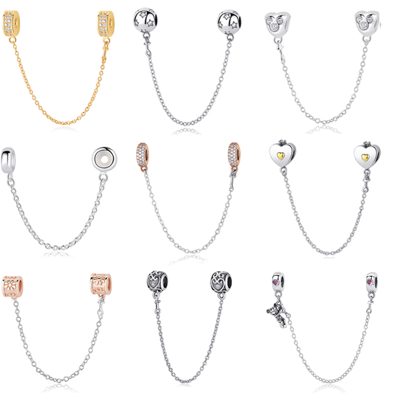 Jewelry & Accessories 925 Sterling Silver Charms Bead Diy Gold Love Safety Chain For Original Pandora 925 Sterling Silver Bracelets Bangles Xcy139 Beads