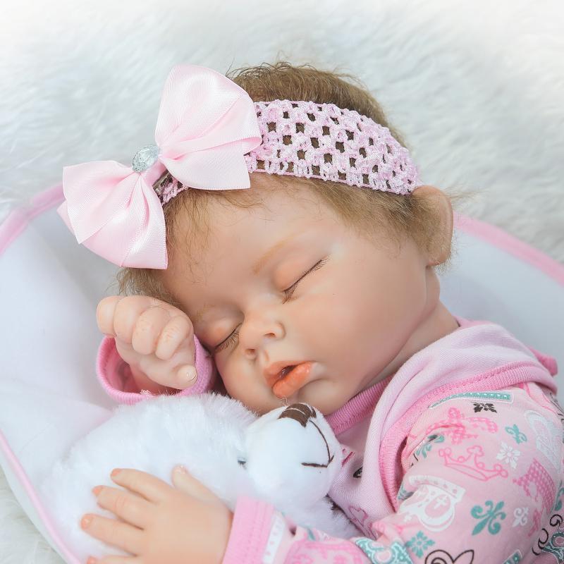 55cm Mjuk Silikon Reborn Sova Baby Doll Livlig Nyfödd Alive - Dockor och tillbehör - Foto 3