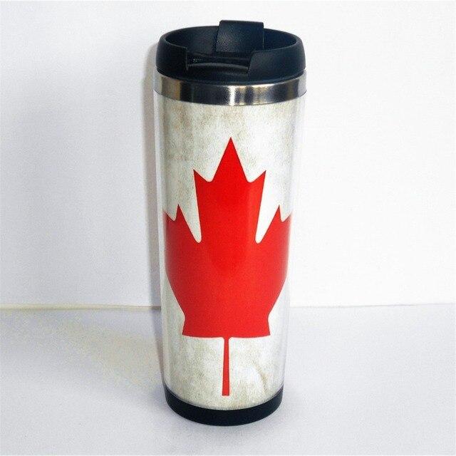 New Mug Canada Flag Maple Leaf Creative Cup Tea Water Milk Coffee Stainless Steel