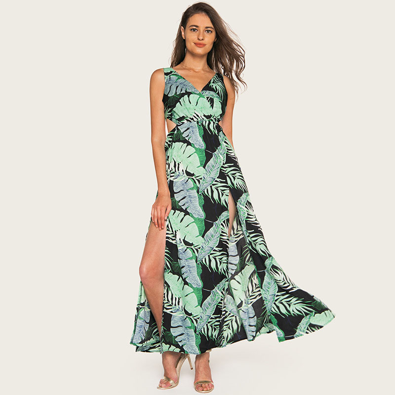 Wasteheart Summer Green Women Long Dresses Printed Backless V Neck Holiday High Leg Sexy Plus Size Sundress Dresses Beach Style in Dresses from Women 39 s Clothing