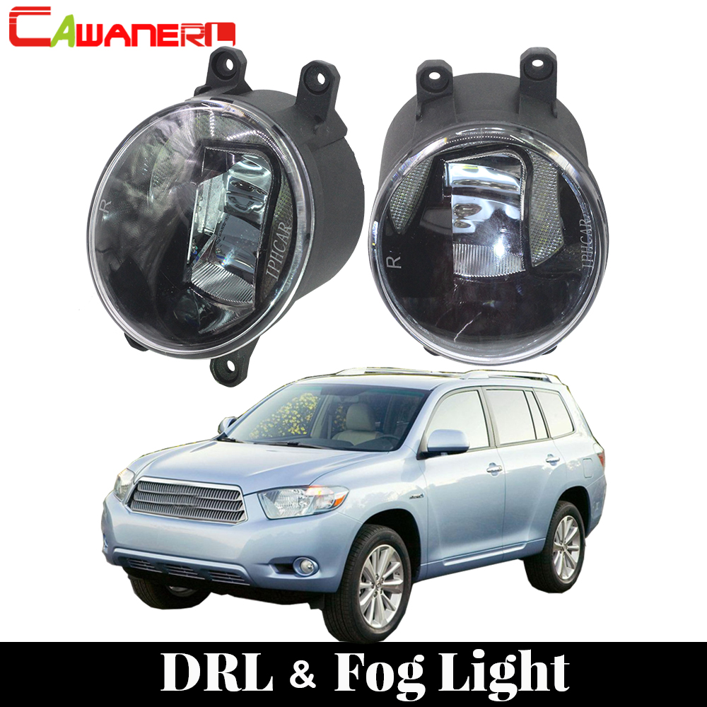 Cawanerl Car LED Fog Light Daytime Running Light DRL White For Toyota Highlander Hybrid 2008-2010 Toyota Highlander 2008-2012