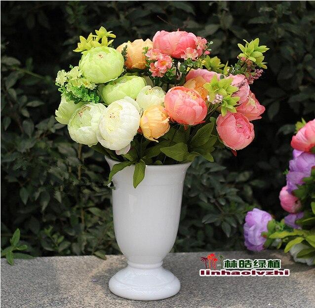 (3 개 / 많은) 가정 decortaion 2015 Wholesales 패션 저렴한 결혼식 실크 꽃 대형 인공 실크 모란 꽃다발