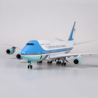 47cm airplane model toys boeing 747 air force one aircraft model with light and wheel 1/150 scale diecast plastic alloy plane