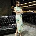 Print Flowers Vintage Traditional Chinese Women Slim Short Sleeve Cheongsam Qipao Dress Mandarin Collar Oriental Dresses Evening
