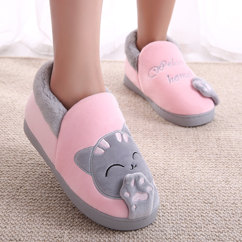 Home Slippers Women Cartoon Cat Home Shoes Non-slip Soft Winter Warm Slippers Indoor Bedroom Loves Couples Floor Shoes Plus Size women s winter furry slippers home non slip soft couples cotton thick bottom indoor warm rubber clogs woman shoes