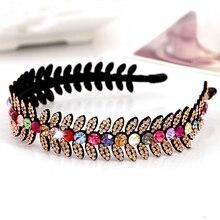 Luxury Bright Austria Crystal Headbands All Match Leaf Rhinestone Hairbands Woman Hair Accessory Headwear Birthday Gift 5Colors