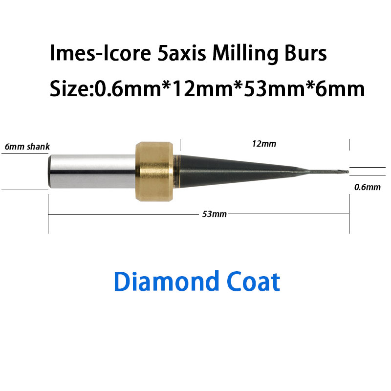 Imes-Icore 0.6mm Diameter Ball Carbide Milling Burs With Diamond Coat for CORITEC 250i, 350i,450i, 550i, 750i 5pcs 2 0mm dental imes icore cad cam diamond coated burs