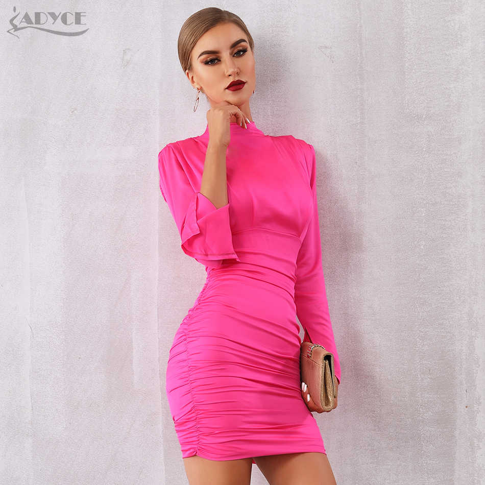 097bb4ff6 ... Adyce 2019 New Summer Women Celebrity Runway Party Dress Sexy Long  Sleeve Rose Red Black Draped ...