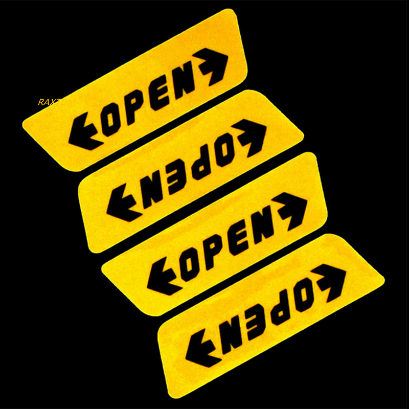 4pcs/set Car styling Door Open Warning Stickers For Skoda Octavia A2 A5 A7 Fabia Rapid Superb Yeti Roomster