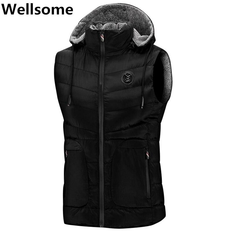 Winter Vests Men Sleeveless Coats Sleeveless Jacket For Men Fashion Warm Hooded Male Winter Vest Mens Work Vests Waistcoat 7906