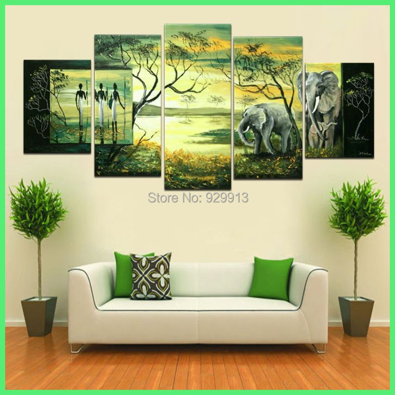 framed 5 panel huge green africa painting elephant wall art african picture home decor m0773 in painting calligraphy from home garden on aliexpresscom - Elephant Home Decor