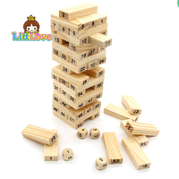 New Wooden Tower Wood Building Blocks Toy Domino 54 4pcs Dice Stacker Extract Building Educational Jenga