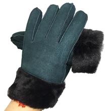 100% Pure sheepskin Winter Gloves Women Real Sheepskin Fur Warm Ladies Full Finger Genuine Leather mitten gloves X12