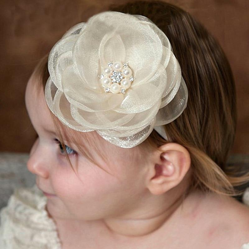 1PC Kids Girls DIY Headband Newborn Lace Flower Rhinestone Pearl Hairband Headbands თავსაბურავი თმის ზოლები აქსესუარები New 2017