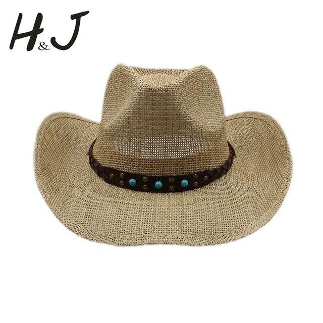 Wanita pria berongga topi koboi pria barat cowgirl jazz sombrero berkuda  cap ayah ratu musim panas b6625eb3a1
