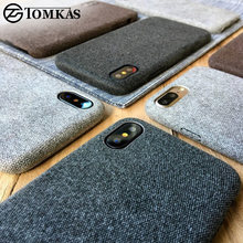 TOMKAS Linen Soft Cloth Case For iPhone X 6 7 8 Cases Luxury Cover Cotton Coque Phone Case For iPhone 6S 7 8 Plus Back Cover