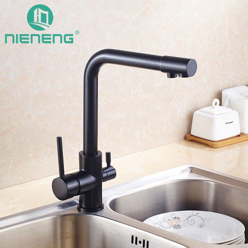 Nieneng Brass Swivel Drinking Water Faucet 3 Way Water Filter Purifier Black Kitchen Faucets For Sinks
