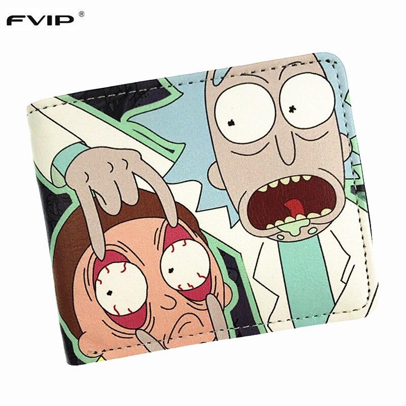 FVIP קומיקס ריק ו Morty קצר בעל כרטיס ארנק מטבעות ארנק עם כיס מטבע