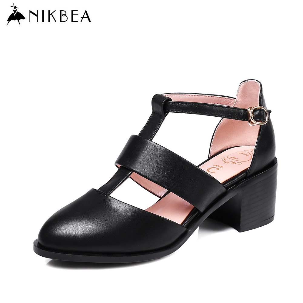 ФОТО NIKBEA 2017 Summer Genuine Leather Classical Mary Janes Shoes Women Shoes Round Toe High Heels Pumps Woman Thick Heel Black