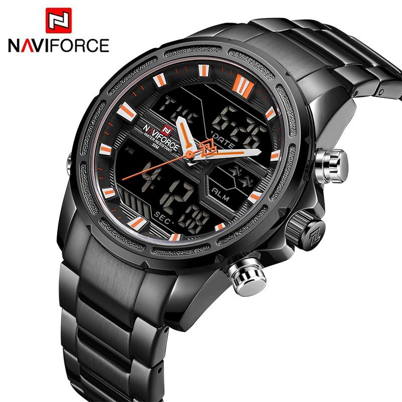 d5c6eedc469b NAVIFORCE nuevo de lujo de los hombres de deportes reloj de cuarzo de hombre  analógico LED Chrono reloj Digital impermeable militar relojes 9138