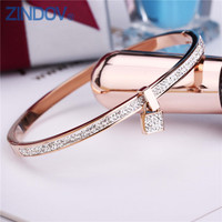 2017 New Fashion Stainless Steel Bangles Bracelet For Women PVD Gold Plated Rose Silver Color Key