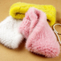 Women fashion fur Scarf Mink knit scarves Warm fur headband