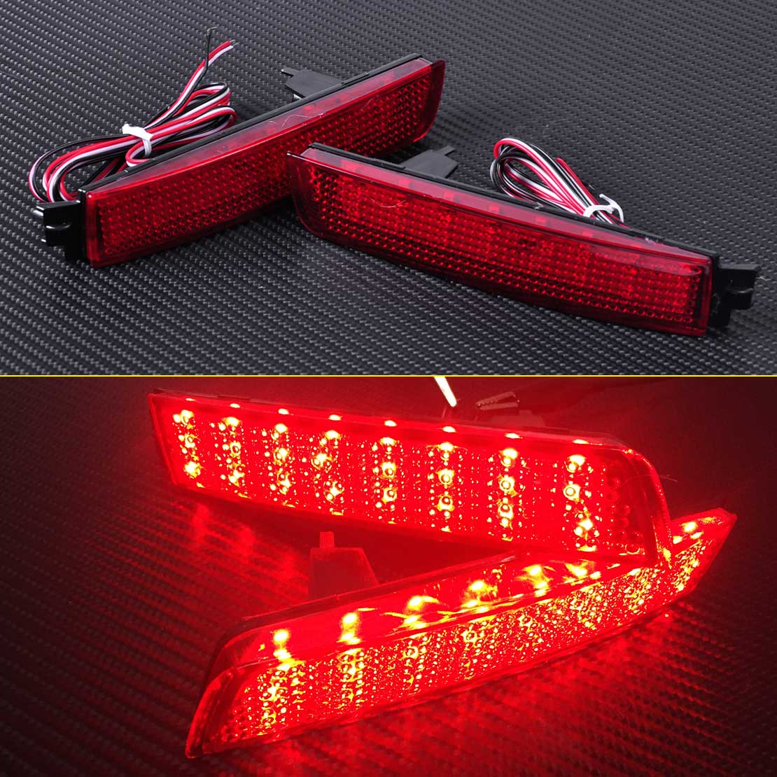 CITALL Red Lens LED Bumper Reflector Rear Tail Brake Light 26565-5C000 for Nissan Juke Quest Murano Sentra Infiniti FX35 FX37