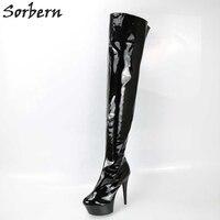 Sorbern/пикантная Фетиш обувь на высоком каблуке женские ботфорты для женщин супер высокий каблук удобные женские сапоги на каблуке