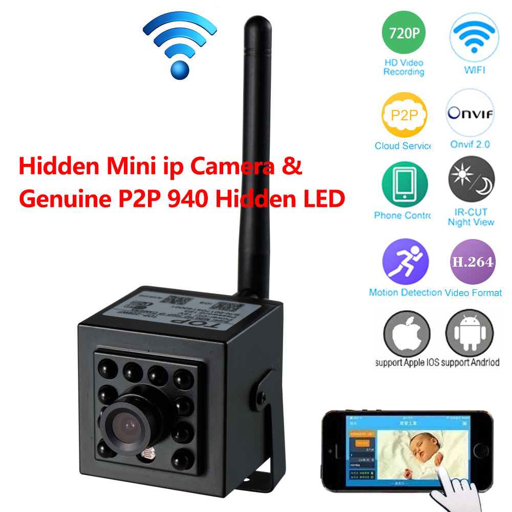 Mini P2P IP Camera With Genuine 940nm Invisible LED & ONVIF2.0 for Network Recording Free App & CMS software for Video Monitor image