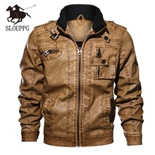 Autumn and winter mens collar solid color washed pu leather jacket large size motorcycle Ou code men