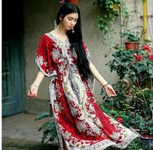 2017 Beach Dress Kaftan Ethnic Rayon Maxi Dress Women Vintage Tunic Boho Casual Printed Long Dress Vestidos De Fiesta K03