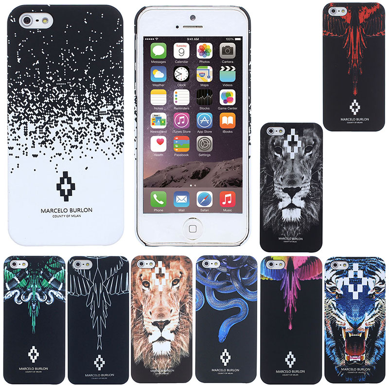 selezione migliore bf2ac 1fc94 Marcelo Burlon series PC shell Animal Squishy gel Case for iPhone 5 5s SE 6  6s plus protector Skin Back Cover shell for apple