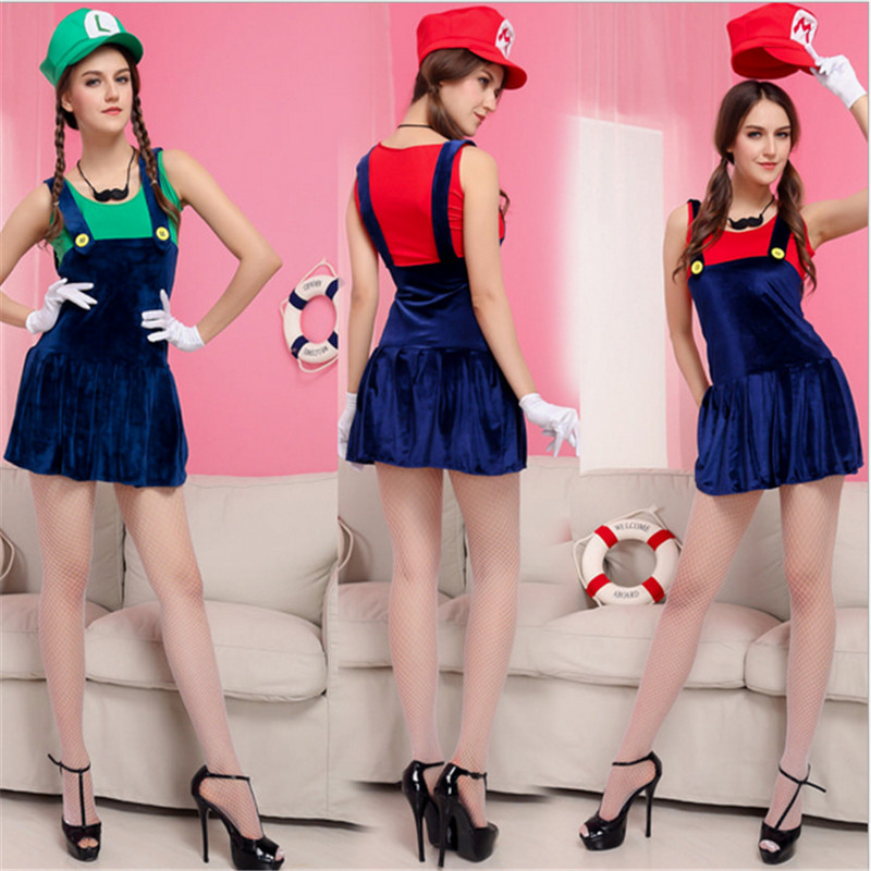High Quality sexy red green adult cartoon super Mario Cosplay Dress plumber clothing 2018 new super mario bros Halloween costume