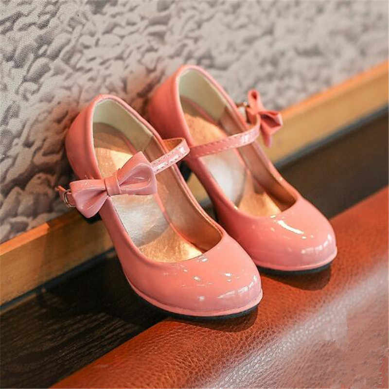 Children High Heel Black Wedding Shoes Bow Patent Leather Dancing Kids Dress Shoe Infant Baby Girl Prom Sandals