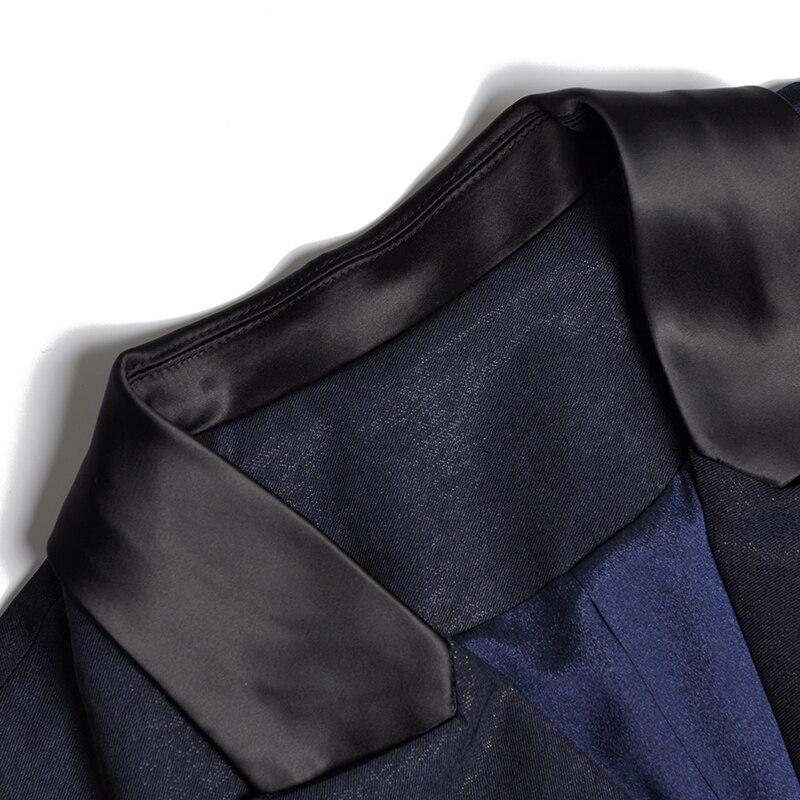 Flare Élégante Mince Manches Moulante Col Salopette Droite Taille Foncé Profond Longue Haute V Pantalon Bleu Fente Femmes Zipper Combinaisons K269 rtxrYFqwd