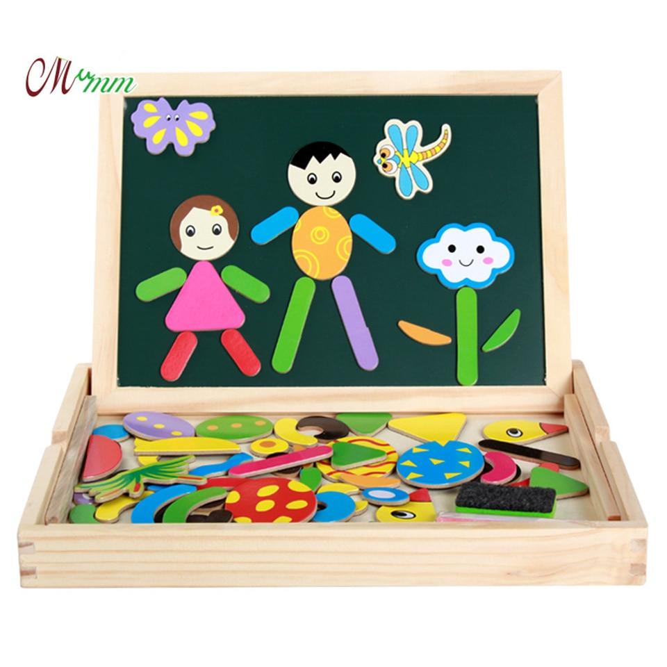 Jouets en bois Puzzles Force magnétique enfants éducatifs début Multi fonction Double face planche à dessin développement pensée