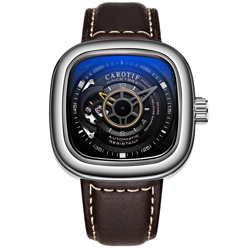 Carotif cuero casual relojes mecánicos - Relojes para hombres