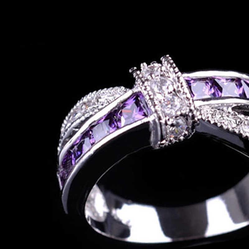 KUNIU מעוקב Zirco נדיב סגול תכשיטי נשים אלגנטיות חתונת עיצוב אביזרי גברת כסף סגסוגת טבעות האירוסין מפלגה