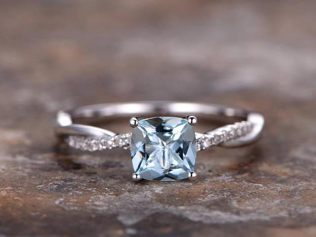 6mm Cushion Cut Aquamarine Engagement Ring 925 Sterling Silver