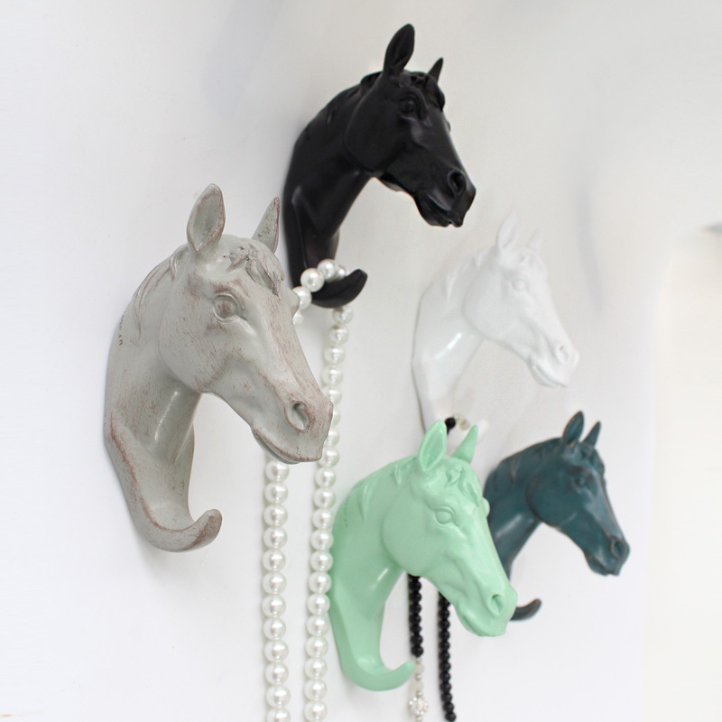Resin Animal Horse Head Crafts Robe Hooks Wall Decoration Coat Hat Bag Europe Style Hanger Decor In From Home Improvement On
