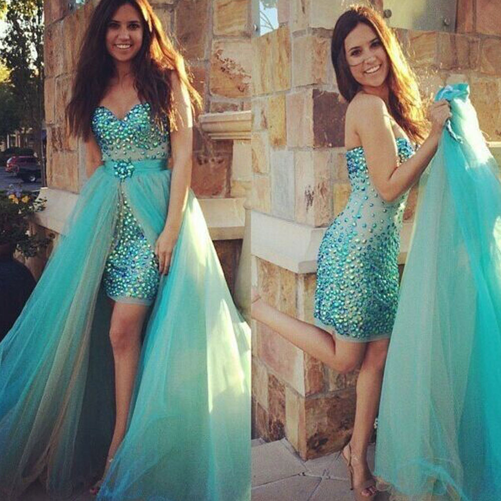 Sexy Sweetheart Turquoise Short Prom Dresses with Detachable Train 2019 Beaded Crystals High Low Mint Green