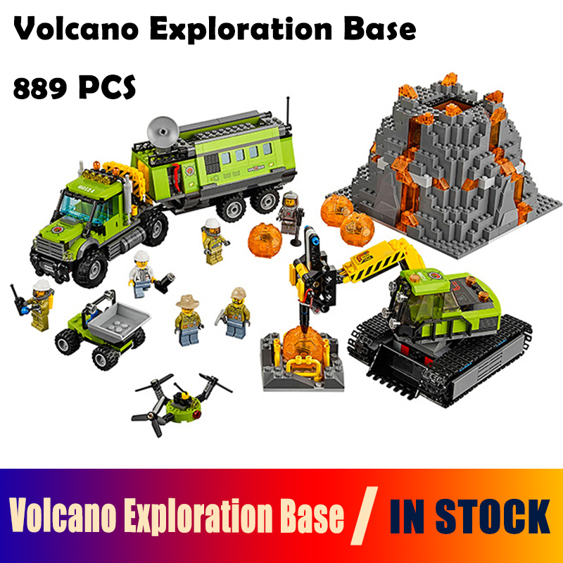 Models building toy The Volcano Exploration Base Set Building Blocks Compatible with lego City 60124 toys & hobbies for birthday lepin 02005 volcano exploration base building bricks toys for children game model car gift compatible with decool 60124